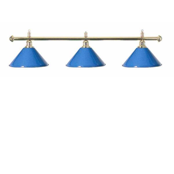 Lampe Laiton 3 cônes bleu 150cm