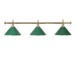 Lampe Laiton 3 cônes verts150cm