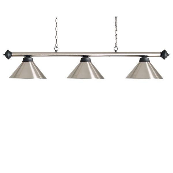 Lampe Chrome brossé 3 cônes chromes brossés 150cm