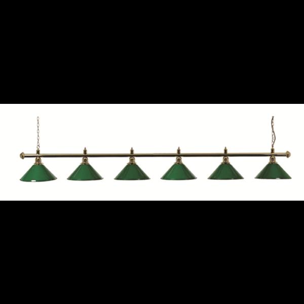 Lampe laiton 6 cônes verts – 276 cm